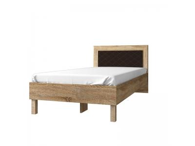 Кровать 84.01 (ель), спинка CN №16.1 (ель/кож.зам. коричн.)