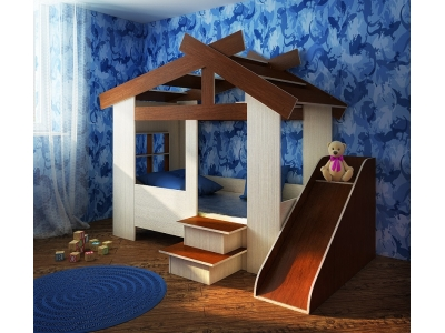 Детская кровать Домик 13/64СВ с горкой