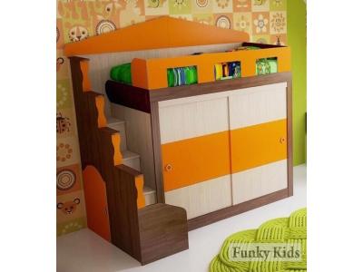 Кровать чердак Фанки Хоум 11005 со шкафом купе