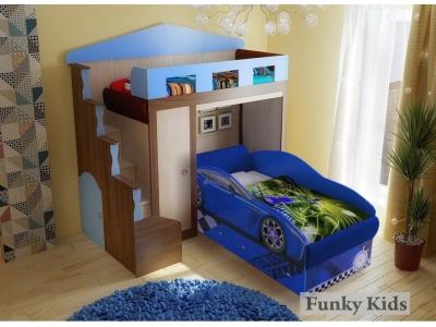 Кровать с нишей Фанки Хоум 11004 + кровать машина Тесла