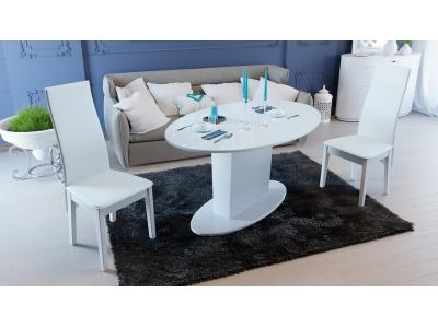 Стол обеденный раздвижной со стеклом Марсель СМ(Б)-102.01.12(2) белый