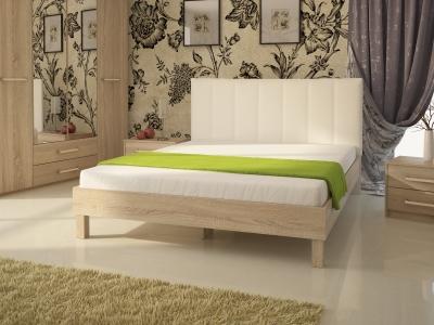 Кровать № 93.01 (ель), спинка СМ №2 классик белая