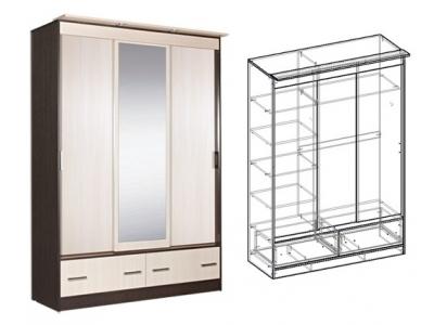 Шкаф-купе 3-х створчатый 1500 с зеркалом Светлана