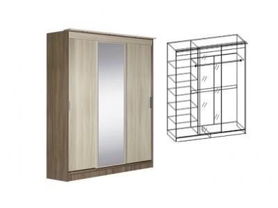 Шкаф-купе 3-х створчатый с зеркалом Светлана (Ясень шимо)