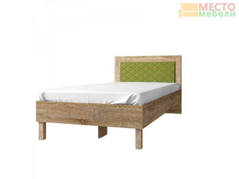 Кровать 84.01 (ель) + спинка CN №16.1 (ель/кож.зам. эвкалипт)