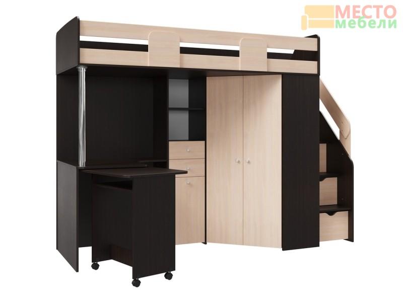 Кровать чердак Мийа (венге/дуб молочный)