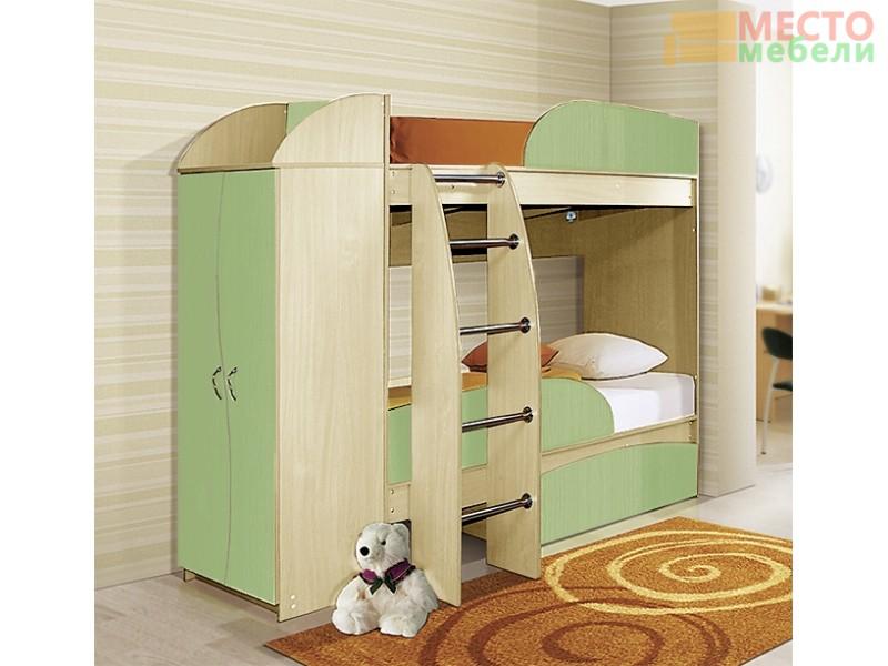 Двухъярусная кровать Омега 4А со шкафом
