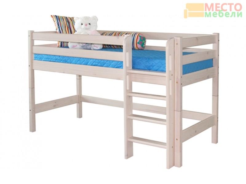 Низкая кровать Соня 11 с прямой лестницей