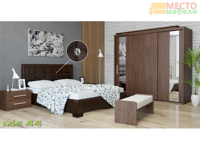 Кровать 2-х спальная 227 (МК-44) коричневая