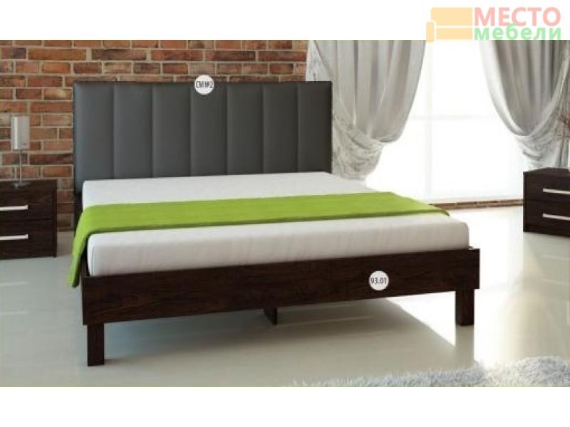 Кровать № 93.01 (старое дерево) + спинка СМ № 2 черная