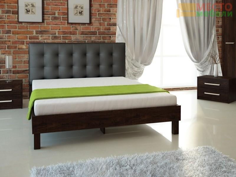 Кровать № 93.01 (старое дерево) + спинка СМ № 1 черная
