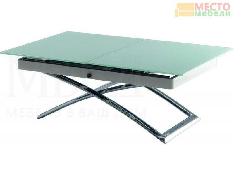 Хромированный стол-трансформер В2275 с белым стеклом