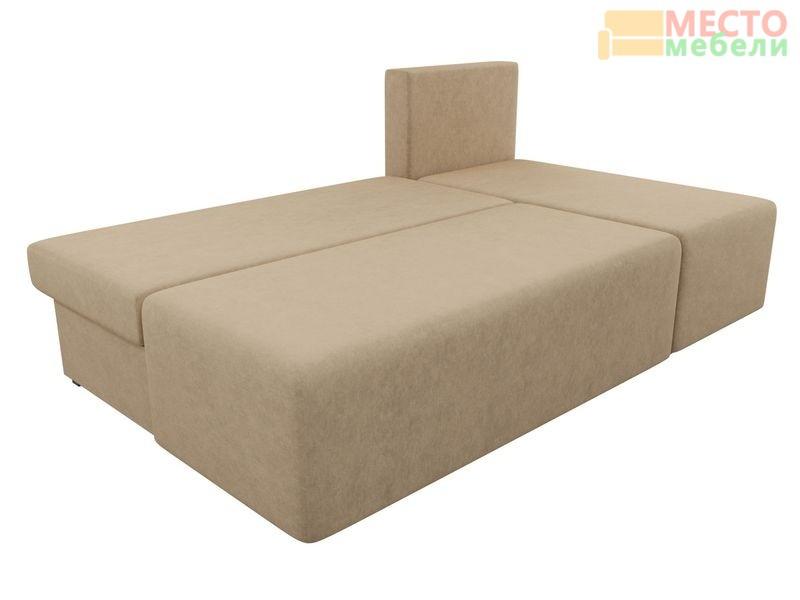 Угловой диван Поло (микровельвет бежевый)
