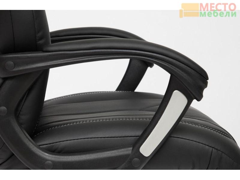 Кресло BOSS (хром) кож/зам, черный перфорированный