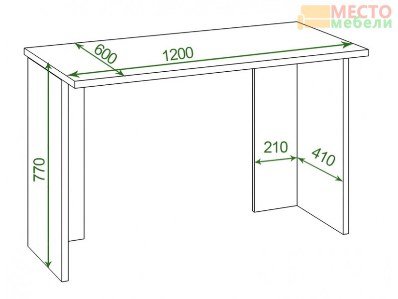 Стол СКЛ-Прям120 (без тумбы) Домино Lite