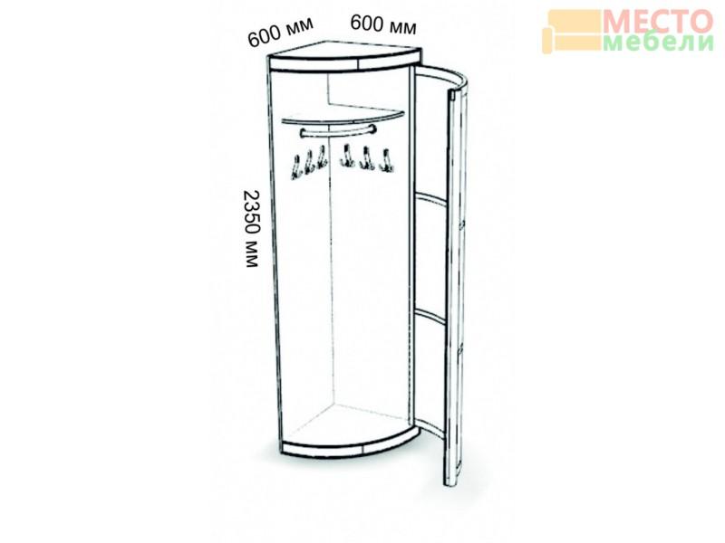 Угловой элемент с дверкой 600х600 крючки