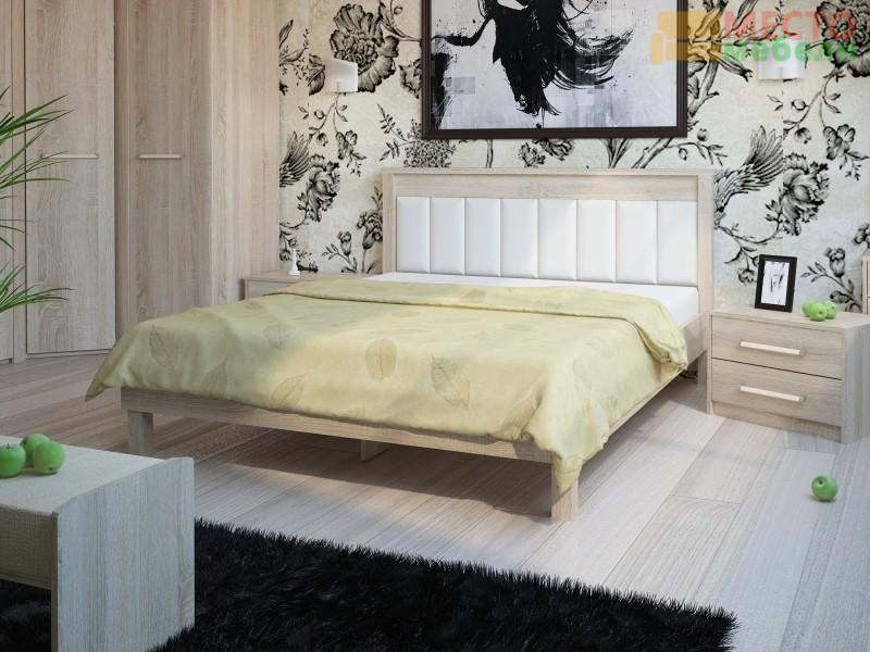 Кровать № 93.01 (ель), спинка СМ №11 классик белая