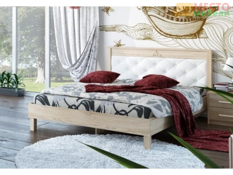 Кровать № 93.01 (ель), спинка СМ №11.1 классик белая