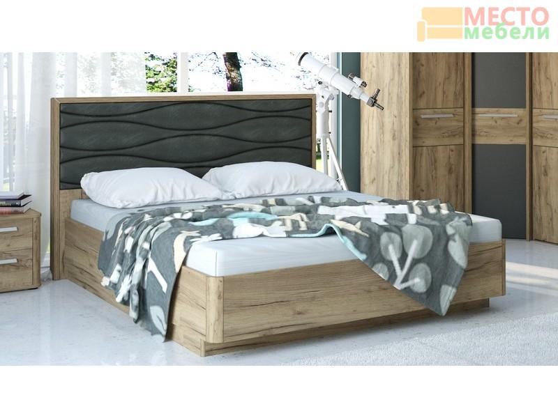 Кровать № 234 с подъемным механизмом (золотистый дуб/серый кожзам)