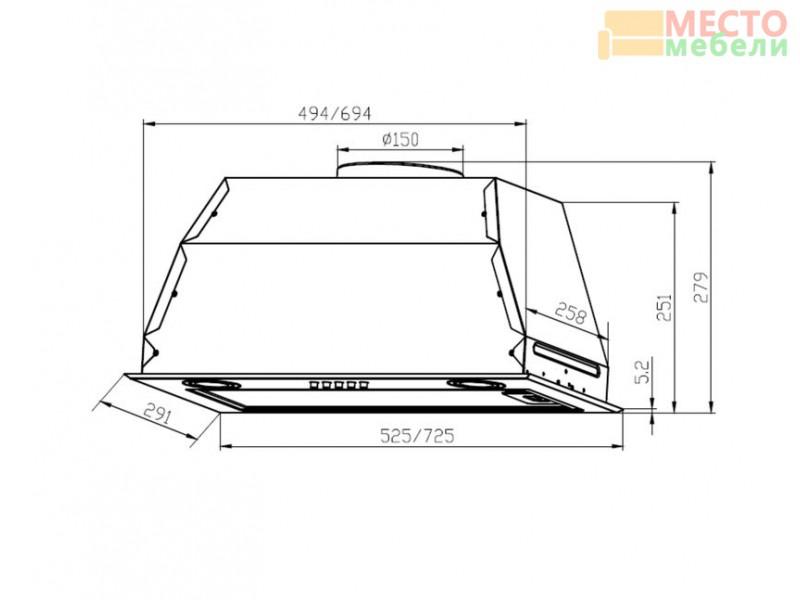 Встраиваемая кухонная вытяжка GS BLOC P 900 Inox
