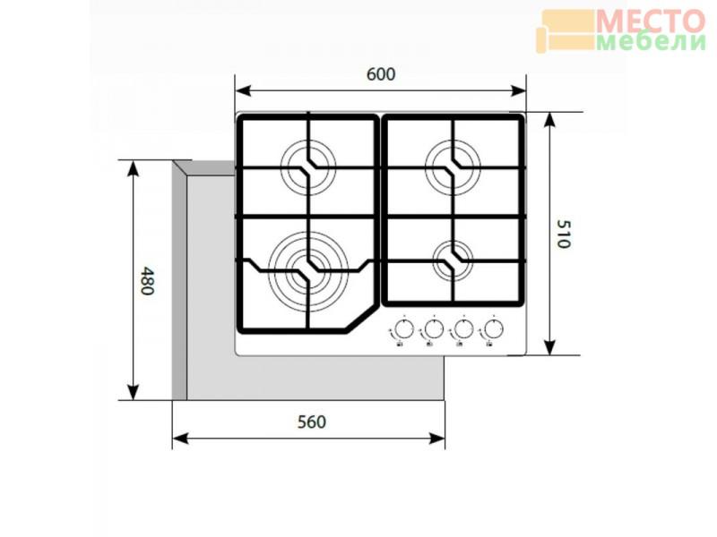 Газовая варочная поверхность GVG 640-1 IV Ivory