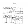 Кухонный гарнитур Техно New 0,9*2,7 Белый софт/Слива софт