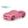 Кровать-машина объемная (3d) Мустанг, розовый