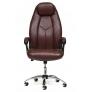 Кресло BOSS (хром) кож/зам, коричневый перфорированный, 2TONE
