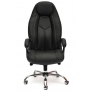 Кресло BOSS люкс (хром) кож/зам, черный перфорированный