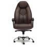 Кресло BOSS люкс (хром) кож/зам, коричневый перфорированный