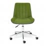 Кресло STYLE экошерсть/кож/зам, зеленый/металик